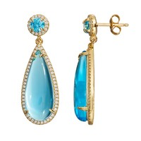 Cubic Zirconia 18k Gold Over Silver Cabochon Teardrop Earrings (Blue)