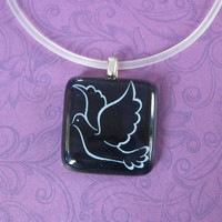 White Dove Necklace, Handcrafted Jewelry, Dove Jewelry - Leela - 4499 -1