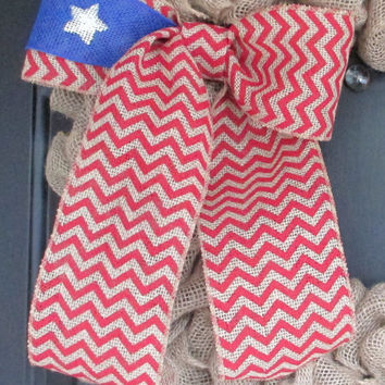 Flag Themed Red Chevron One Star Burlap Bow, Patriotic Wreath Floral Bow, Independence Day 4th of July, Celebration, Party, School, Home