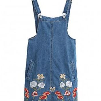Denim Overall Dress with Floral Embroidery