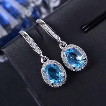 Natural blue topaz gem drop earrings 925 silver natural gemstone earrings Stylish elegant round women party Earrings jewelry