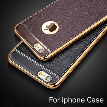 Phone Case For iPhone 5 5s 6 6S 7 8 Plus X Silica gel plating TPU Cases Accessories Leather Pattern Back Cases Cover Fundas Capa