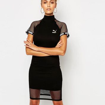 Puma | Puma Black Bodycon High Neck Dress With Mesh Inserts at ASOS