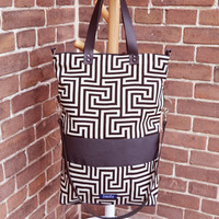 Large fold over canvas tote bag shopping bag casual fold over tote school bag gray greek labyrinth pattern book bag leather straps for women