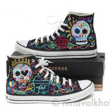 DCCK1IN custom made hand painted converse allstars dia de los muertos day of the dead