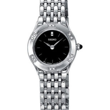 Seiko Ladies Diamond Watch - Stainless - Black Face