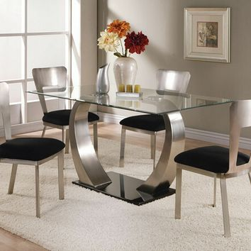 Acme 10090 5 pc camille rectangular metal and glass dining table with beveled edge and metal frame chairs