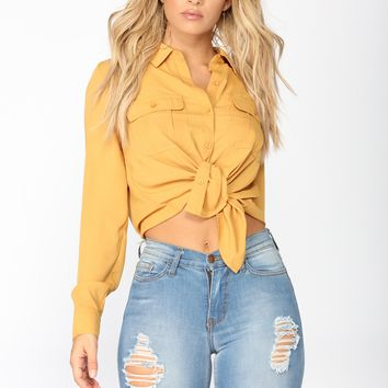 Keeping It Simple Button Down Shirt - Mustard