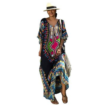 Dresses for Women Summer Ethnic Dashiki Dress Robe Traditional Clothing Long Maxi Tunic Dress