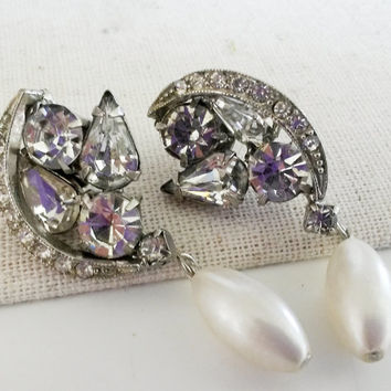 RePurposed Bridal Silver Tone Crystal Rhinestone Dangle Pearl Drop Pierced Earrings OOAK