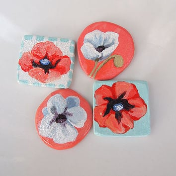 Hand Painted Flower Magnet set - Poppy Magnet Mini Paintings Set of Four Crimson Red, White and Soft Green Blue