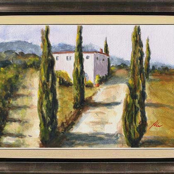 Cypress trees, Tuscany, Italy; original watercolor painting, 9x12 inches