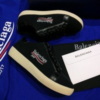 2017 New Balenciaga Flat Shoes Embroidered Linen Shoes - Black - Beauty Ticks