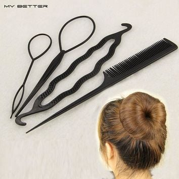 4 Pcs Hair Twist Styling Clip Stick Bun Donut Maker Braid Tool Set Headband Hair Accessories