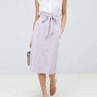ASOS DESIGN tailored pencil skirt with obi tie at asos.com