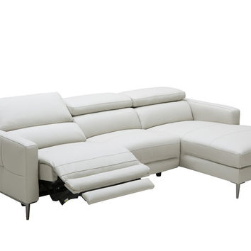 Divani Casa Booth Modern Light Grey Leather Sectional Sofa w/ Recliner VGKK5237-LTGRY