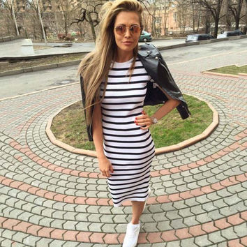 Summer Women Dress 2016 O-Neck Striped Sexy Casual Bodycon Knee Length Pencil Dress  Party Dresses Vestidos De Festa
