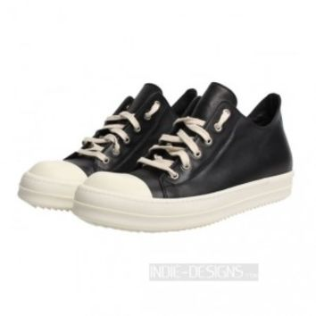 Indie Designs Black Ramones Leather Low Top Sneakers
