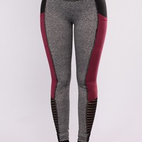 Hadley Active Leggings - Charcoal/Red