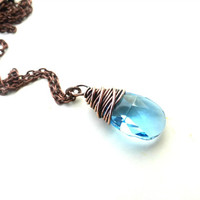 Copper necklace with Blue Aquamarine Crystal pear pendant.  Swarovski crystal pendant jewelry.