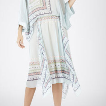 Jaelyn Asymmetrical Scarf Print Dress - Blue