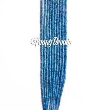 Sky Blue Single-Ended Synthetic Dreadlock Extensions 24""