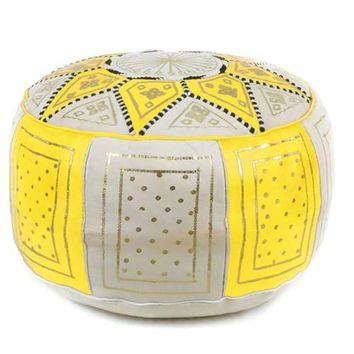 Yellow / Beige Fez Moroccan Leather Pouf Round Genuine Leather