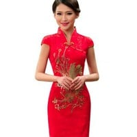 2017 summer Silk Satin Cheongsam Chinese Traditional Dress Vestido short Sleeve Female High Neck Qipao Party Evening Dress