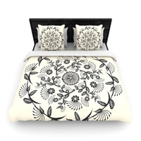 "Famenxt ""Black & White Decorative Mandala"" Geometric Woven Duvet Cover"