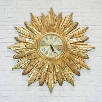 Midcentury Modern Elgin Sunburst Clock HUGE / Gold Wall Clock / Hollywood Regency Home Decor