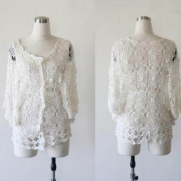 Vintage handmade crochet top, butterfly sleeves cardigan shawl, hippie boho sheer open weave bolero jacket