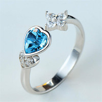 Womens Girls Unique White Gold Ring with Flower Crystal Adjustment Fashion Casual Jewelry Best Gift One Size Rings-91