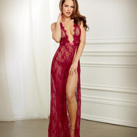 Lace Gown & G-String Panty Set