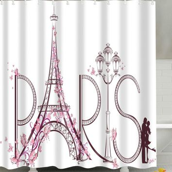 Letter Print Shower Curtain With 12 Hooks