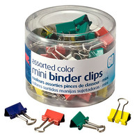 "OIC® Binder Clips Tub, Mini Clips, 9/16"", Assorted Colors, Pack Of 60 Item # 482161"
