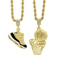 hcxx Gold Plated HipHop Retro 11  Concord  & Plain Basketball Pendant 4mm 24  Rope Chain