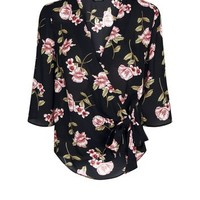 Black Floral Wrap Front Top | New Look
