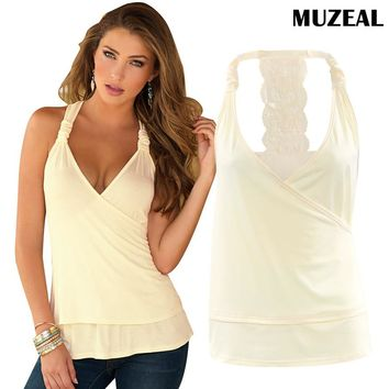 MUZEAL Summer Woman Halter Sexy Lace Tank Top Shirts Deep V neck Off Shoulder Vest Night Club Party New Hot Girls Tee Shirts 15