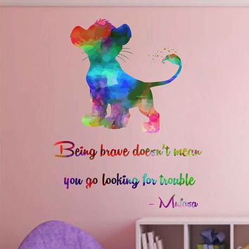 kcik2036 Full Color Wall decal Watercolor Character Disney Sticker Disney children's room The Lion King quote