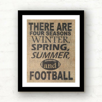 Football Season, Football Decor, Man Cave Sign, Man Cave Decor, Gifts for Men, Football Gift, Dad Gift, Burlap Print, Football Sign
