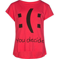 Full Tilt You Decide Girls Hi Low Tee Pink  In Sizes
