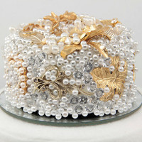 Vintage Brooch Wedding Cake Topper Encrusted with by NouveauTique
