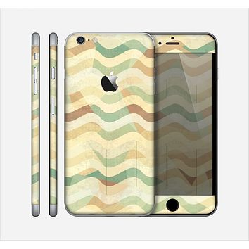 The Green and Yellow Wave Pattern v3 Skin for the Apple iPhone 6 Plus