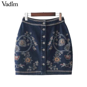 women floral embroidery denim skirt  buttons design female mini skirts