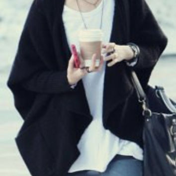 Black Batwing Sleeve Asymmetrical Cardigan