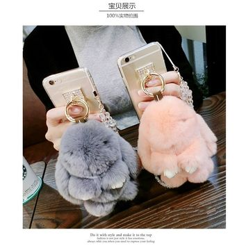 Dower Me Super Cute Fashion Diamond Furry Real Fur Rabbit Doll Pendant Phone Case Cover For iPhone X 8 7 6 6S Plus 5 5S SE 5C 4S