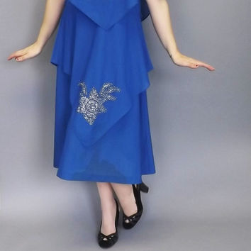Vintage 70s does 1920s Blue Gilberti Handkerchief Dress Floral Glitter Disco Glam Gown Size Medium Large Gown 20s Flapper Great Gatsby