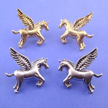 Large Pegasus Unicorn Shaped Stud Earrings in Silver or Gold