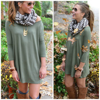 Heaven's Bliss Olive Quarter Sleeve Solid Shift Dress