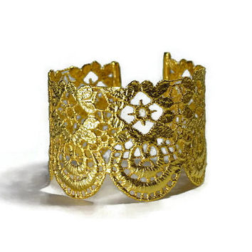 gold lace cuff bracelet - greek jewelry - filigree metallic lace - wedding jewelry - bold dipped gold cuff - statement bracelet